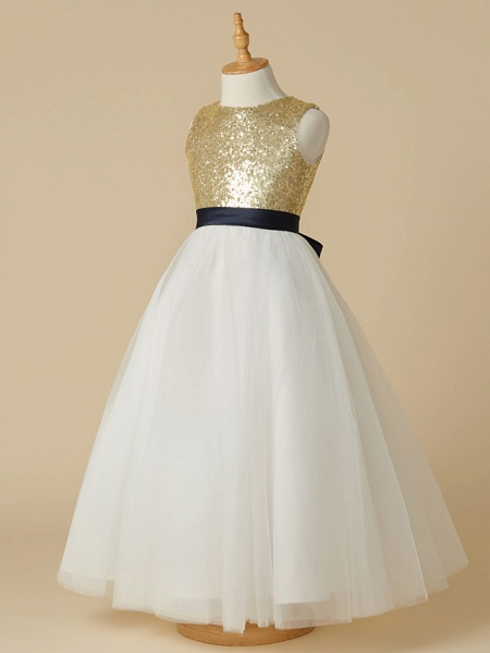 A-Line Ankle Length Pageant Flower Girl Dresses - Tulle / Sequined Sleeveless Jewel Neck With Sash / Ribbon / Bow(S)_3