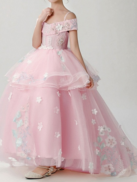 Ball Gown Sweep / Brush Train Pageant Flower Girl Dresses - Polyester Short Sleeve Spaghetti Strap With Appliques_5