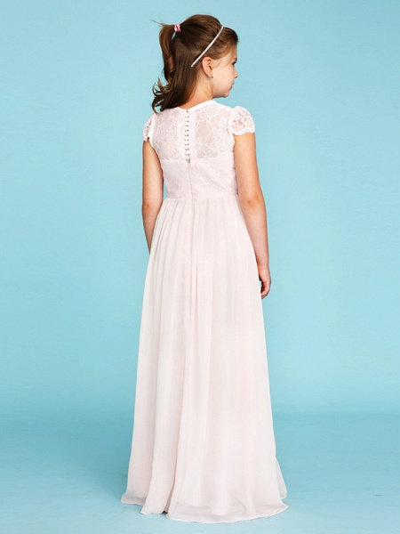 Princess / A-Line Crew Neck Floor Length Chiffon / Lace Junior Bridesmaid Dress With Buttons / Pleats / Wedding Party / See Through_2