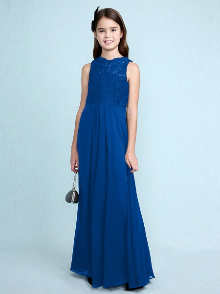 Sheath / Column Scoop Neck Floor Length Chiffon / Lace Junior Bridesmaid Dress With Lace / Natural_37
