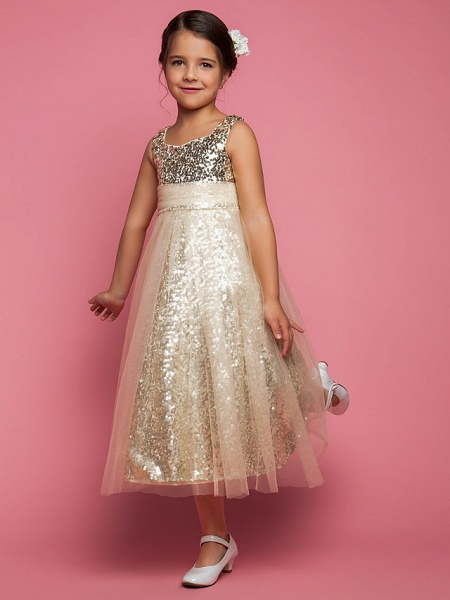 Princess / A-Line Tea Length Tulle Sleeveless Jewel Neck With Ruched / Sequin_2