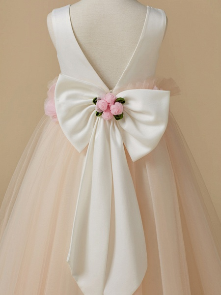 A-Line Tea Length Pageant Flower Girl Dresses - Satin / Tulle Sleeveless Jewel Neck With Bow(S) / Flower_5