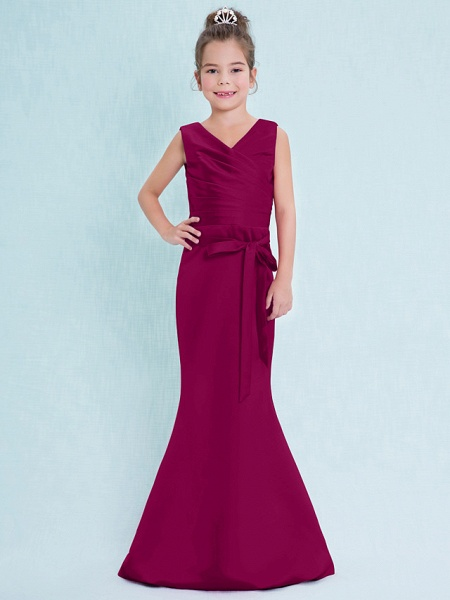 Mermaid / Trumpet V Neck Floor Length Satin Junior Bridesmaid Dress With Criss Cross / Natural_42