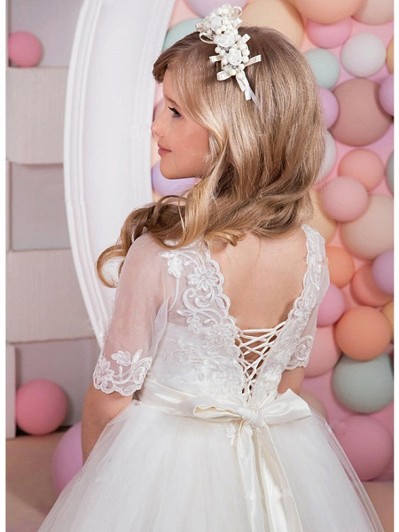 A-Line Floor Length Wedding / Party Flower Girl Dresses - Lace / Satin / Tulle Short Sleeve Jewel Neck With Bow(S) / Appliques / Solid_2