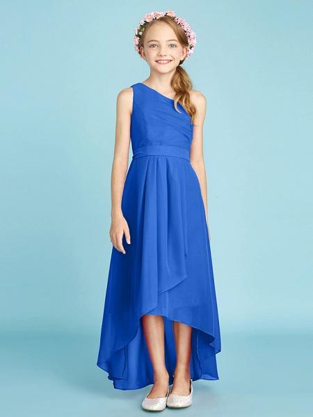 A-Line One Shoulder Asymmetrical Chiffon Junior Bridesmaid Dress With Sash / Ribbon / Bow(S) / Side Draping / Natural_36