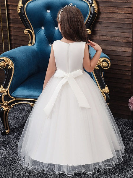 A-Line Medium Length Wedding / Party / First Communion Flower Girl Dresses - Tulle / Matte Satin / Poly&Cotton Blend Sleeveless Jewel Neck With Lace / Beading / Solid_4