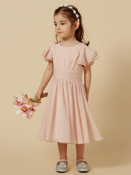 A-Line Tea Length Holiday Flower Girl Dresses - Chiffon Short Sleeve Scoop Neck With Sash / Ribbon_3