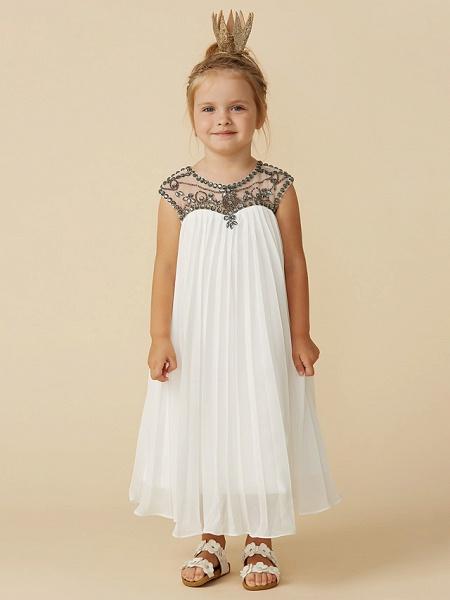 A-Line Tea Length Holiday Flower Girl Dresses - Chiffon Short Sleeve Jewel Neck With Beading_1