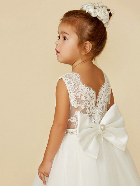 Princess Floor Length Wedding / First Communion Flower Girl Dresses - Lace / Tulle Sleeveless Jewel Neck With Lace / Sash / Ribbon / Bow(S)_6