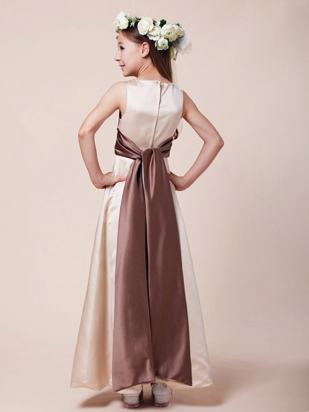 Princess / A-Line Bateau Neck Floor Length Satin Junior Bridesmaid Dress With Sash / Ribbon / Ruched / Spring / Summer / Fall / Winter / Apple_4