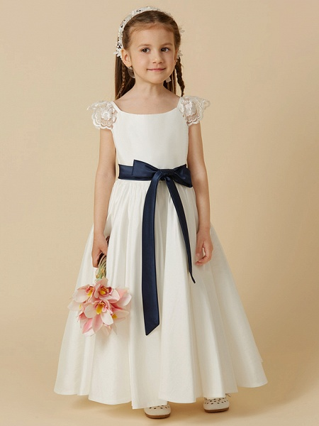 A-Line Ankle Length Wedding / First Communion Flower Girl Dresses - Taffeta Short Sleeve Scoop Neck With Sash / Ribbon / Bow(S)_1