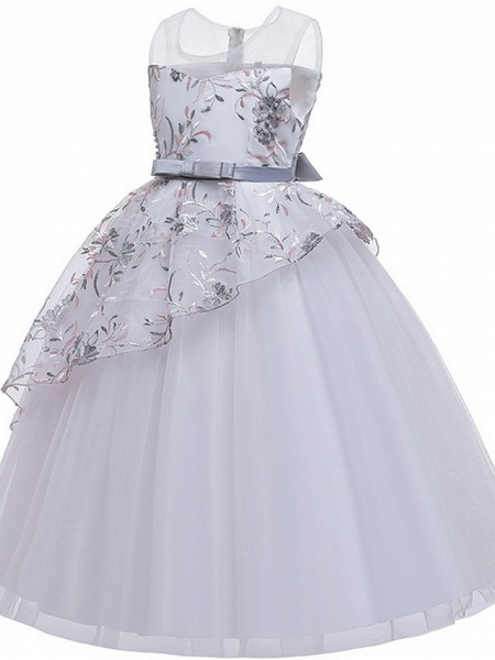 Princess / Ball Gown Floor Length Wedding / Party Flower Girl Dresses - Tulle Sleeveless Illusion Neck With Sash / Ribbon / Bow(S) / Embroidery_10