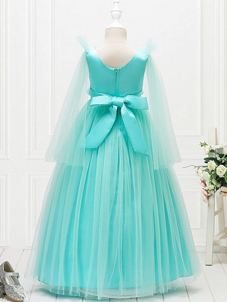 Princess / Ball Gown Floor Length Wedding / Party Flower Girl Dresses - Tulle Long Sleeve Jewel Neck With Bow(S) / Flower_6