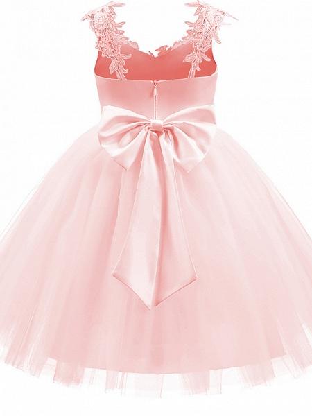 Princess Short Length Wedding / First Communion / Birthday Flower Girl Dresses - Taffeta / Tulle Sleeveless V Neck With Bow(S) / Appliques_8