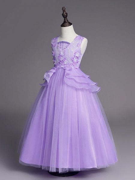 Princess Long Length Wedding / First Communion Flower Girl Dresses - Satin / Tulle Sleeveless Jewel Neck With Belt / Beading / Embroidery_11