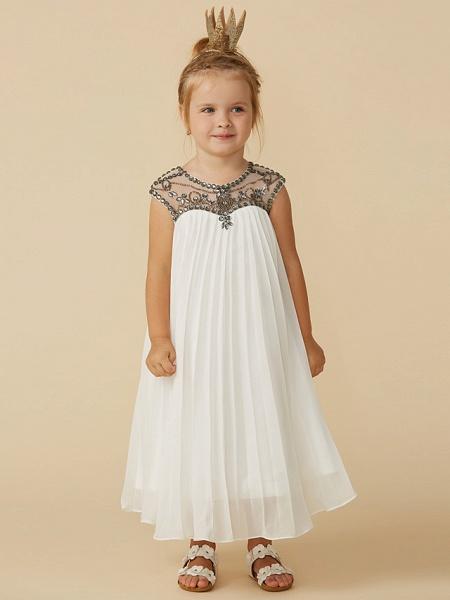 A-Line Tea Length Holiday Flower Girl Dresses - Chiffon Short Sleeve Jewel Neck With Beading_5