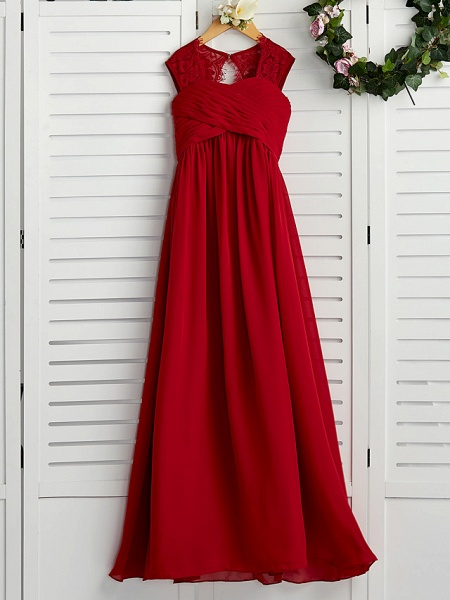 A-Line Square Neck Floor Length Chiffon Junior Bridesmaid Dress With Lace / Ruching_4