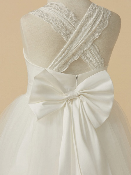 Princess Floor Length Wedding / First Communion Flower Girl Dresses - Lace / Satin / Tulle Sleeveless Halter Neck With Bow(S)_5