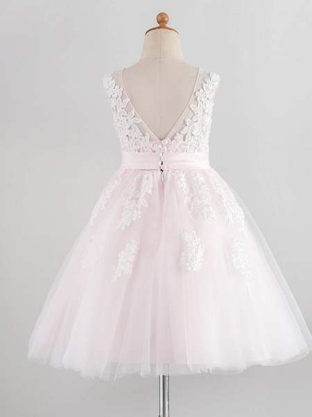 Princess Knee Length Wedding / Birthday / Pageant Flower Girl Dresses - Lace / Satin / Tulle Sleeveless Jewel Neck With Belt / Buttons / Appliques_2