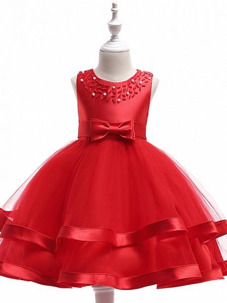 A-Line Knee Length Wedding / Birthday / Pageant Flower Girl Dresses - Cotton Blend Sleeveless Jewel Neck With Sash / Ribbon / Pearls / Trim_3