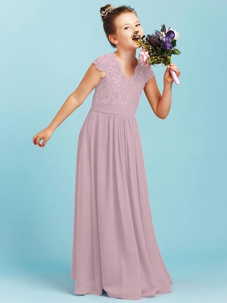 Princess / A-Line V Neck Floor Length Chiffon / Lace Junior Bridesmaid Dress With Sash / Ribbon / Pleats / Wedding Party_28