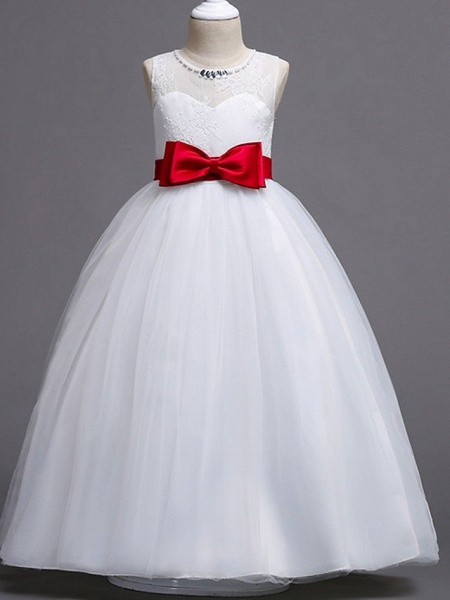 Princess / Ball Gown Floor Length Wedding / Party Flower Girl Dresses - Tulle Sleeveless Jewel Neck With Bow(S) / Beading / Embroidery_3