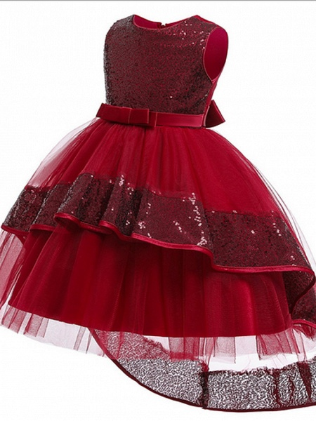 Ball Gown Ankle Length Pageant Flower Girl Dresses - Polyester Sleeveless Jewel Neck With Bow(S) / Appliques_7