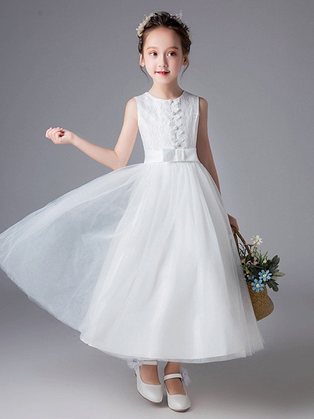 Princess Floor Length Wedding / First Communion Flower Girl Dresses - Polyester Sleeveless Jewel Neck With Lace / Sash / Ribbon / Solid_2
