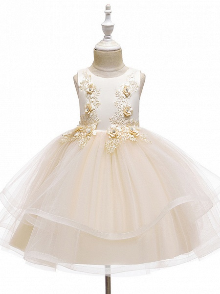 A-Line Knee Length Wedding / Party / Pageant Flower Girl Dresses - Tulle / Matte Satin / Poly&Cotton Blend Sleeveless Jewel Neck With Beading / Solid_13