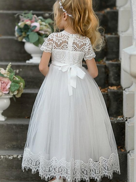 Princess / A-Line Knee Length Wedding / Party Flower Girl Dresses - Lace / Tulle Short Sleeve Jewel Neck With Tier / Solid_2
