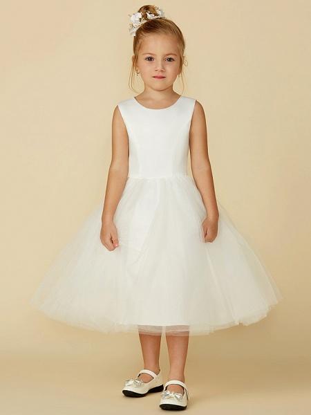 Princess Tea Length Wedding / First Communion Flower Girl Dresses - Satin / Tulle Sleeveless Jewel Neck With Lace_1