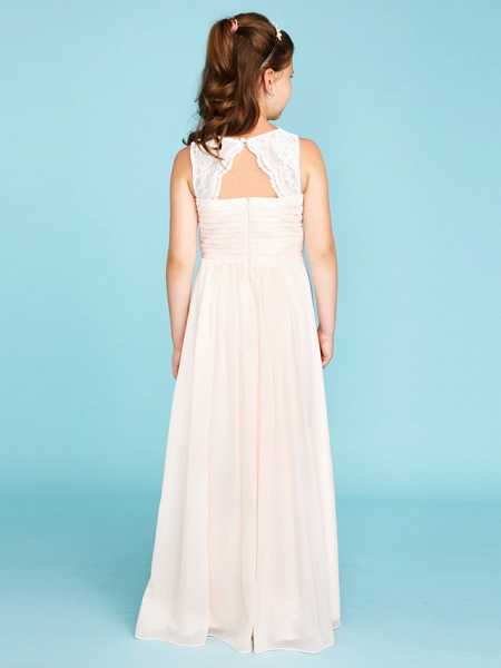Princess / A-Line Strap Floor Length Chiffon / Lace Junior Bridesmaid Dress With Ruched / Side-Draped / Wedding Party_2