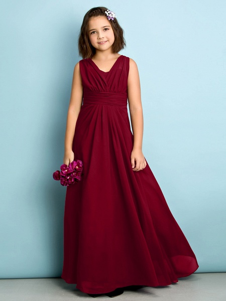 A-Line V Neck Floor Length Chiffon Junior Bridesmaid Dress With Criss Cross / Natural / Mini Me_14