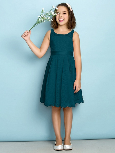 A-Line Scoop Neck Knee Length All Over Floral Lace Junior Bridesmaid Dress With Lace / Natural / Mini Me_34