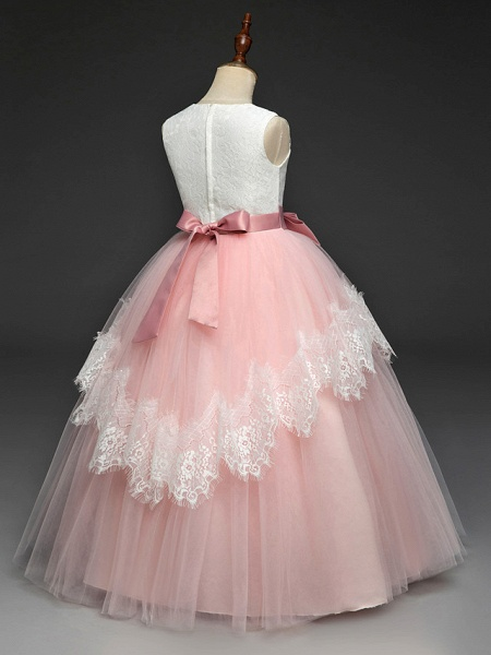 Princess Floor Length Wedding / Party / Pageant Flower Girl Dresses - Lace / Tulle / Mikado Sleeveless Square Neck With Bow(S) / Splicing_7