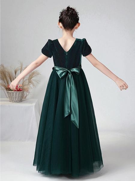 Ball Gown Floor Length Wedding / Party Flower Girl Dresses - Tulle / Velvet Short Sleeve Bateau Neck With Bow(S)_8