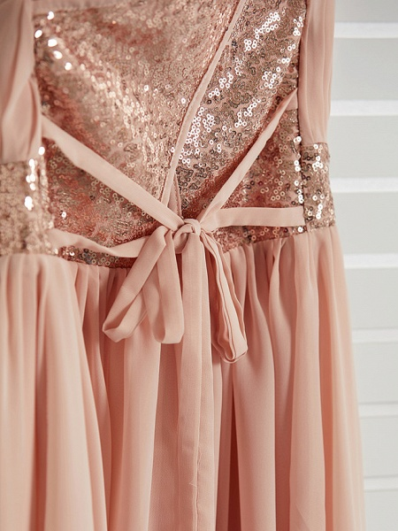 A-Line Jewel Neck Maxi Chiffon Junior Bridesmaid Dress With Lace / Sash / Ribbon_9
