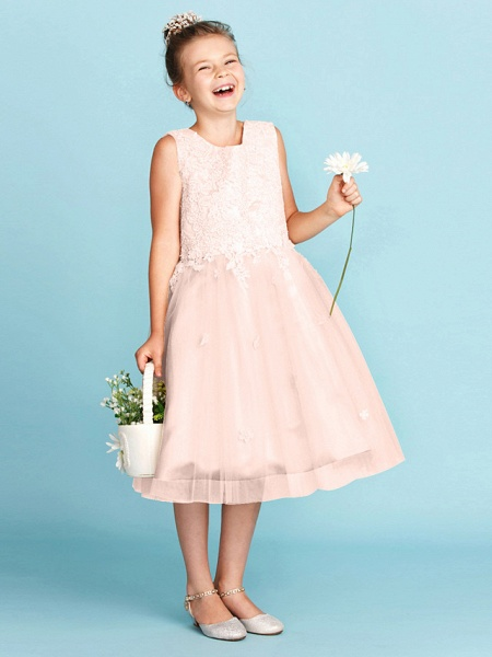 Princess / A-Line Jewel Neck Knee Length Lace / Tulle Junior Bridesmaid Dress With Bow(S) / Appliques / Wedding Party_19