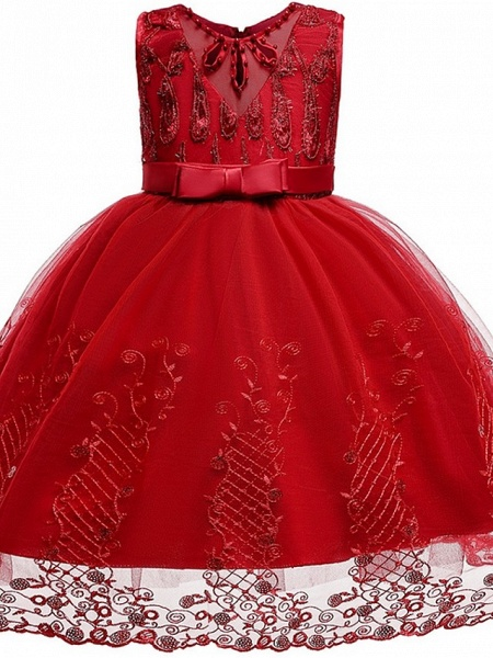 Princess / Ball Gown Knee Length Wedding / Party Flower Girl Dresses - Tulle Sleeveless Jewel Neck With Sash / Ribbon / Bow(S) / Beading_9