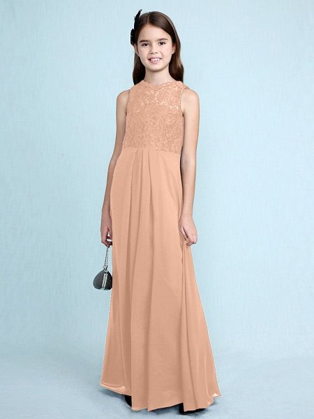 Sheath / Column Scoop Neck Floor Length Chiffon / Lace Junior Bridesmaid Dress With Lace / Natural_15