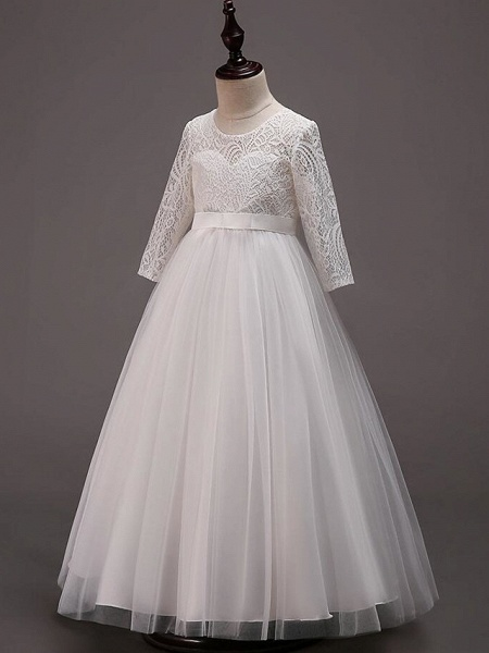 Princess Floor Length Wedding / Party / Pageant Flower Girl Dresses - Lace / Tulle / Cotton Half Sleeve Jewel Neck With Lace / Belt_9