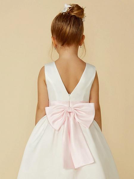 A-Line Tea Length Wedding / First Communion Flower Girl Dresses - Satin Sleeveless Jewel Neck With Sash / Ribbon / Bow(S)_7