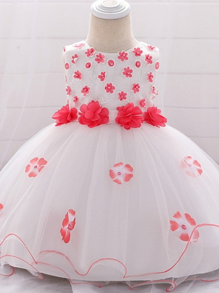 Ball Gown Floor Length Wedding / Party Flower Girl Dresses - Lace / Tulle Sleeveless Jewel Neck With Bow(S) / Tier / Appliques_1