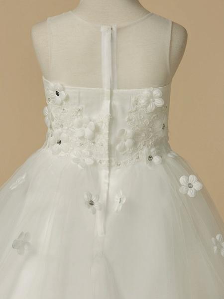 A-Line Floor Length Wedding / First Communion Flower Girl Dresses - Satin / Tulle Sleeveless Jewel Neck With Beading / Flower_5