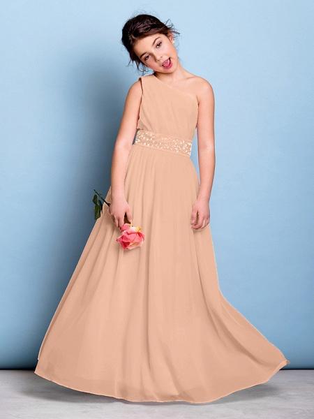 A-Line One Shoulder Floor Length Chiffon Junior Bridesmaid Dress With Sash / Ribbon / Beading / Side Draping / Natural_12