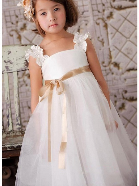 A-Line Knee Length Wedding / Party Flower Girl Dresses - Satin / Tulle Sleeveless Square Neck With Sash / Ribbon / Tier_2