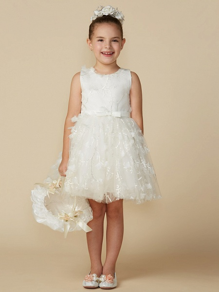 Princess Short Length Wedding / First Communion Lace Sleeveless Jewel Neck With Belt / Bow(S)_1