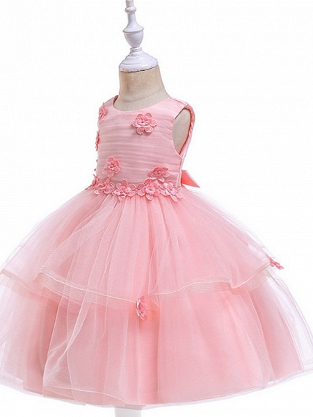 Ball Gown Floor Length Wedding / Party Flower Girl Dresses - Lace / Tulle Sleeveless Jewel Neck With Sash / Ribbon / Appliques_5