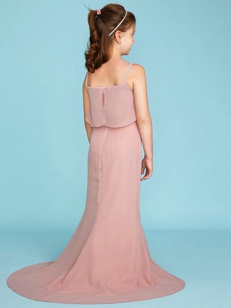 Sheath / Column Spaghetti Strap Sweep / Brush Train Chiffon Junior Bridesmaid Dress With Tiered / Wedding Party / Open Back_2