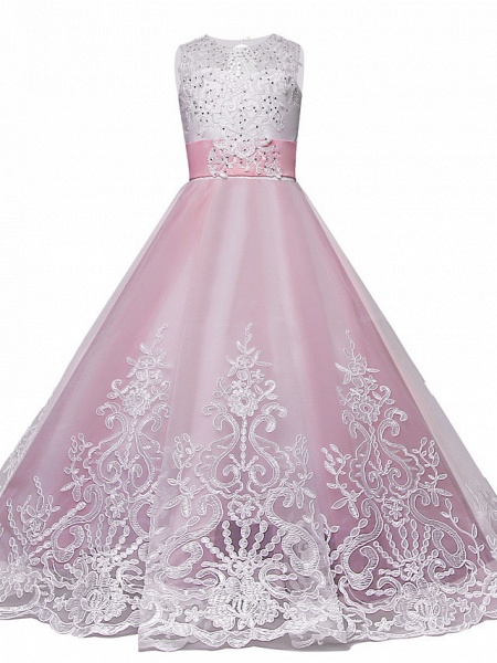 Princess Maxi Wedding / Birthday / Pageant Flower Girl Dresses - Lace / Tulle Sleeveless Jewel Neck With Lace / Bow(S) / Paillette_2